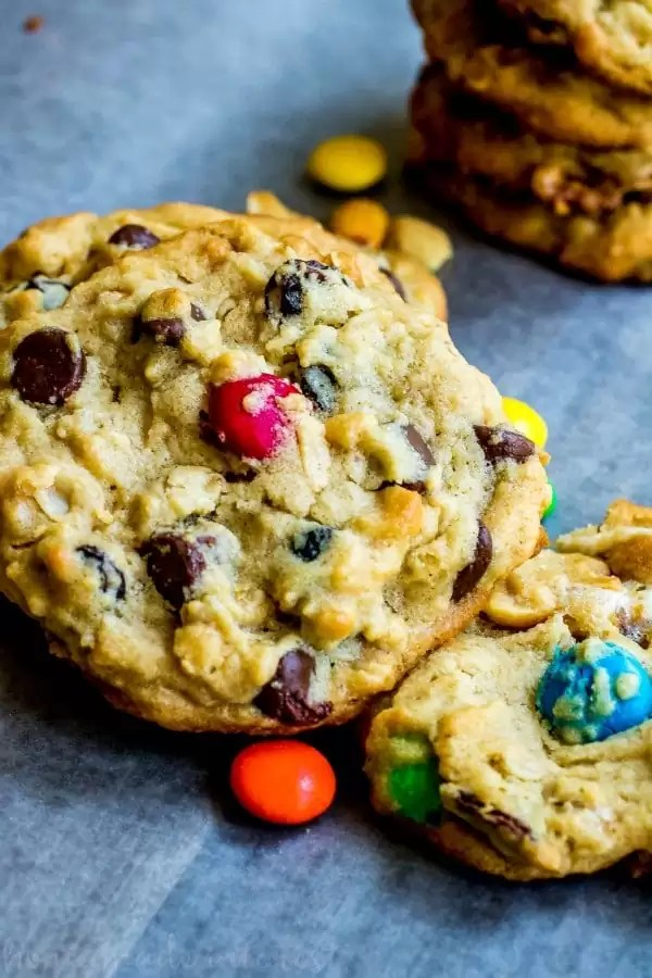 Peanut butter trail mix cookies with M&Ms