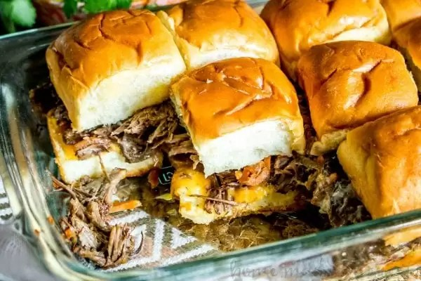 short rib sliders baked in a casserole dish