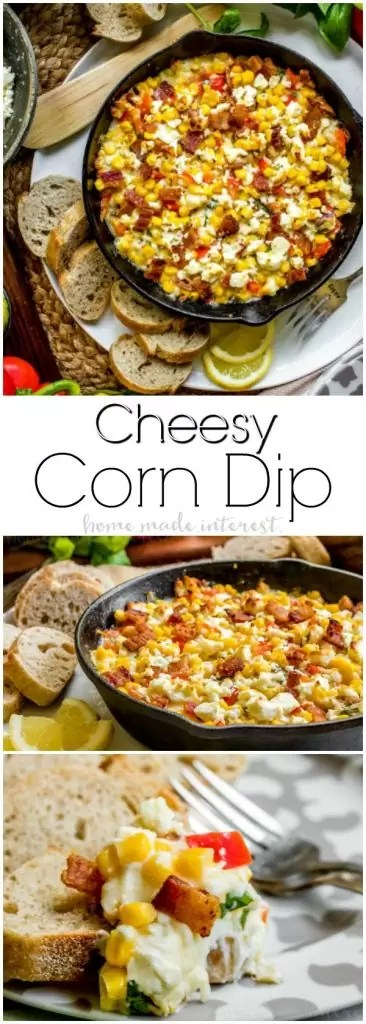 Cheesy Corn Dip | This Cheesy Corn Dip recipe is stuffed full of bacon, three types of cheeses, and of course corn. It is a hot corn dip recipe that makes great party food! Make this easy appetizer for all of your game day parties. Enjoy the football game with hot corn dip and your favorite crackers!
