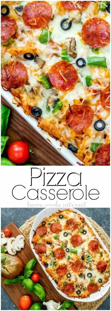 This pizza casserole recipe is going to make your next pizza night extra fun. It's an easy pizza bake filled pasta, with ooey gooey mozzarella cheese, tomato sauce, and all of your favorite pizza toppings; pepperoni, bell peppers, Italian sausage, anything you like! If you are looking for a casserole recipe for dinner this Pizza casserole recipe is going to be a huge hit! #pizza #casserole #makeahead #pasta #homemadeinterest