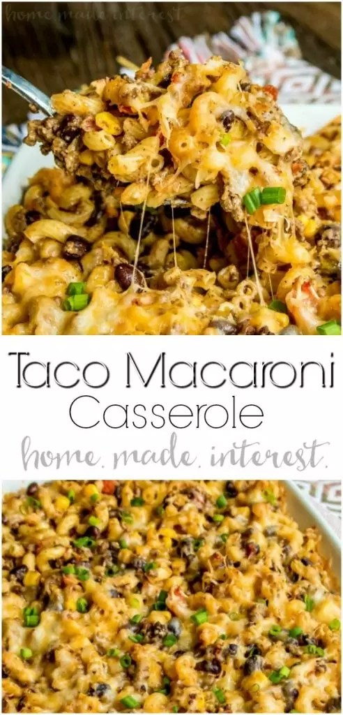 Taco Macaroni Casserole | This taco macaroni casserole is an easy taco bake recipe that makes a great weeknight dinner. Full of all of your favorite tex-mex flavors this is a taco casserole recipe that puts a fun spin on taco night! Turn your typical macaroni and cheese recipe into a spicy southwest comfort food with this easy taco macaroni casserole. #casserole #taco #macaroniandcheese #groundbeef #cheese #homemadeinterest