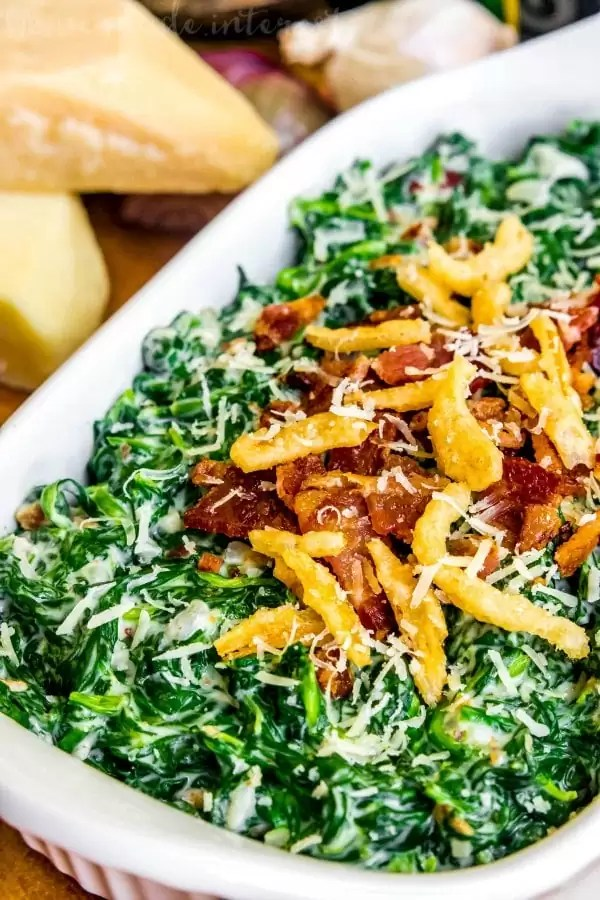 creamed spinach topped with bacon and fried onions