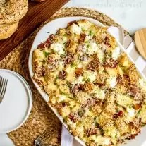 everything bagel casserole made with bacon and cheese