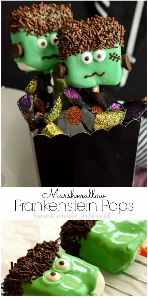 If you're looking for Halloween party food ideas these easy Frankenstein Marshmallow Pops are a fun Halloween dessert recipe that is perfect for kids and adults. #halloween #halloweenparty #marshmallows #homemadeinterest