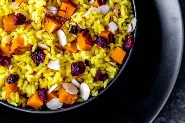 saffron rice with cranberries