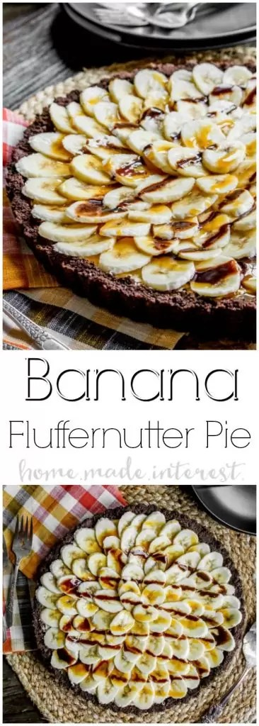 This easy dessert recipe is an almost no bake pie made with fluffernutter! Banana Fluffernutter Pie is a peanut butter twist on a banana cream pie. Chocolate graham cracker crust filled with fluffernutter and topped with fresh slices of bananas. This is a holiday dessert recipe that would make a great Thanksgiving dessert recipe or Christmas dessert recipe. If you like banana cream pie you're going to love this Banana Fluffernutter Pie!