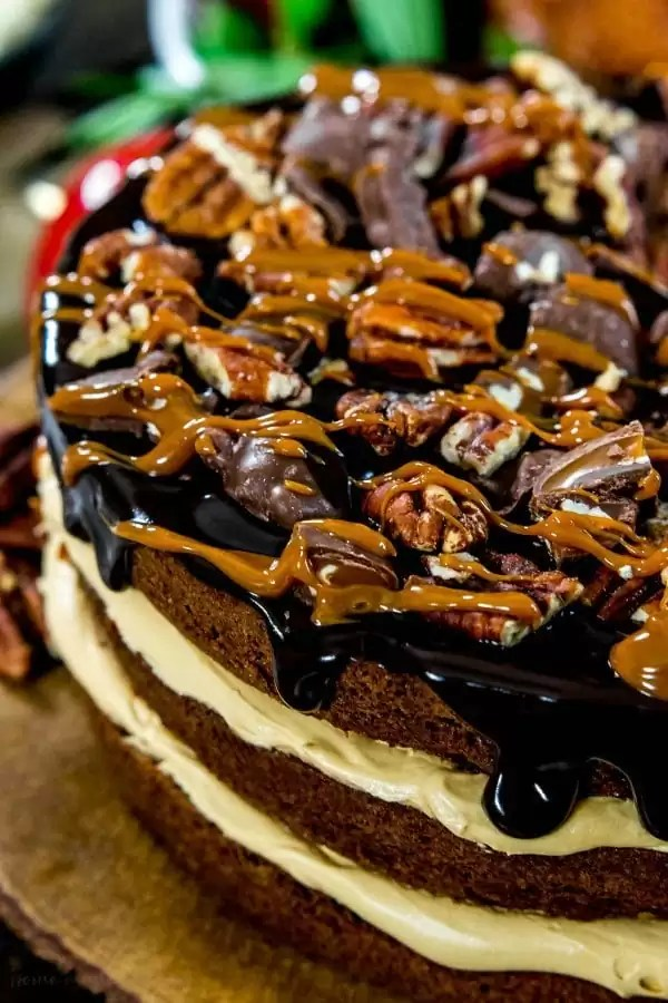 Pecans, turtle candy, fudge and caramel on top of brownie cake