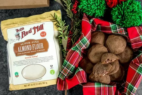Bob's Red Mill almond flour and low carb chocolate peanut butter cup stuffed cookie | Low Carb Cookies