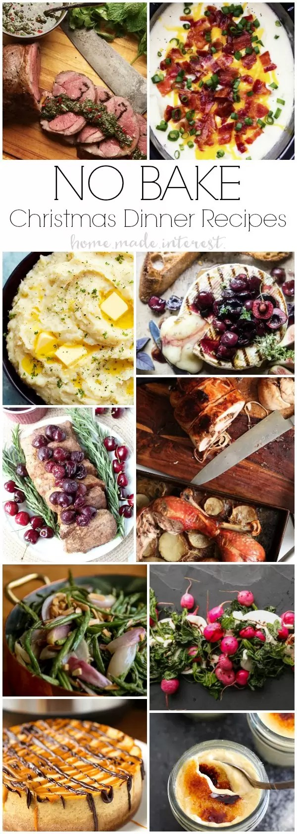 No-Bake Christmas Dinner Recipes that are made in the slow cooker, instant pot, rice cooker, sous vide.
