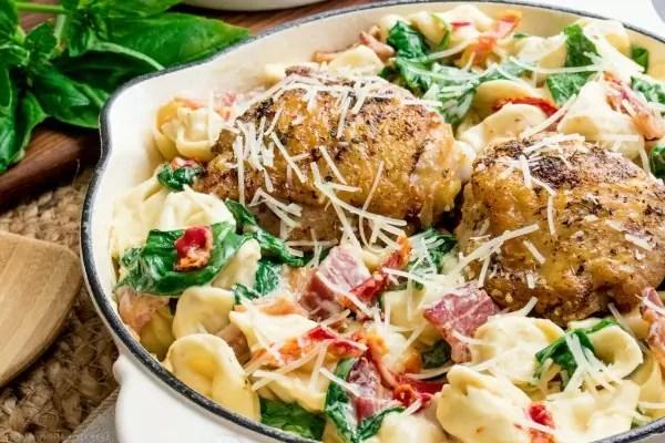 One pot Creamy Chicken and Tortellini chicken thighs and tortellini