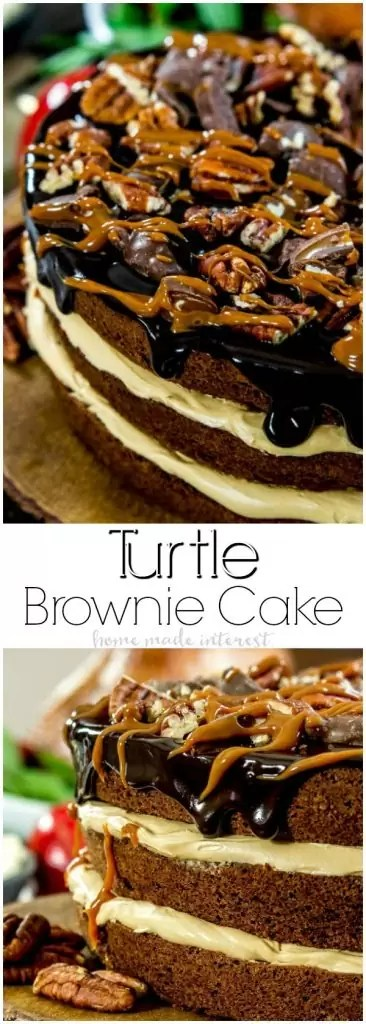 Turtle Brownie Cake | This rich, decadent Turtle Brownie Cake is layers of caramel buttercream sandwiched between fudgy brownies and topped with salted pecans and a rich layer of chocolate ganache. It is the ultimate chocolate dessert recipe and and easy chocolate dessert that is a great Thanksgiving dessert recipe or Christmas dessert recipe.