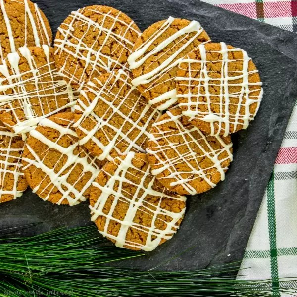 gingersnap cookies on slate