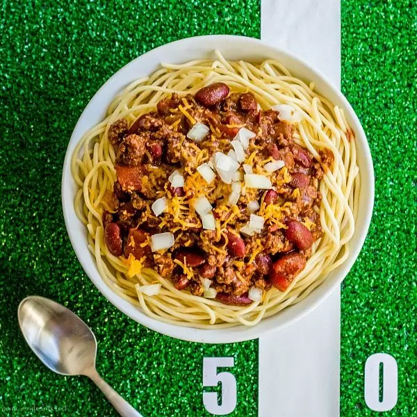 Cincinnati chili over spaghetti