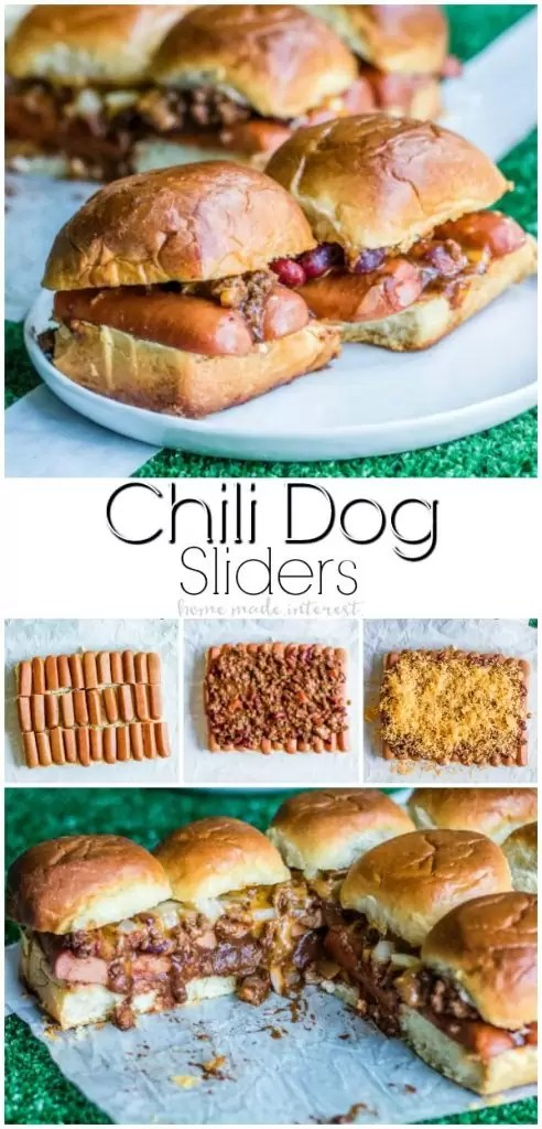 Chili Dog Sliders | These easy Chili Dog Sliders are a football party food idea that is going to be a hit on game day! Chili dogs on soft slider rolls are the perfect appetizer recipe for feeding a crowd at your football party.