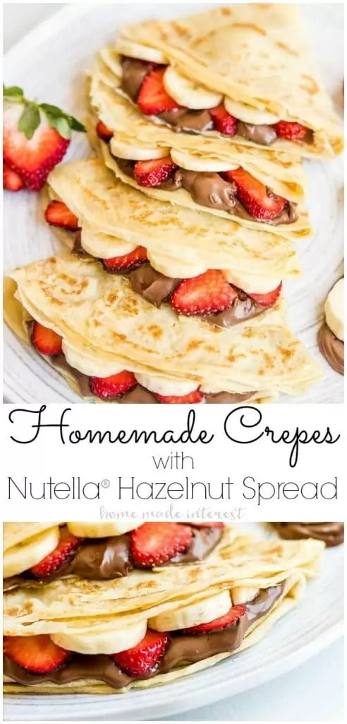 #ad Homemade Crepes with Nutella® Hazelnut Spread are an easy breakfast recipe or brunch recipe filled with sliced strawberries and bananas and creamy Nutella® Hazelnut Spread. This easy crepe recipe would make a great Valentine's Day breakfast or Mother's Day breakfast but it's not just for special occasions. Homemade Crepes with Nutella® Hazelnut Spread is also just a delicious way to start the day any day of the week! @NutellaUSA