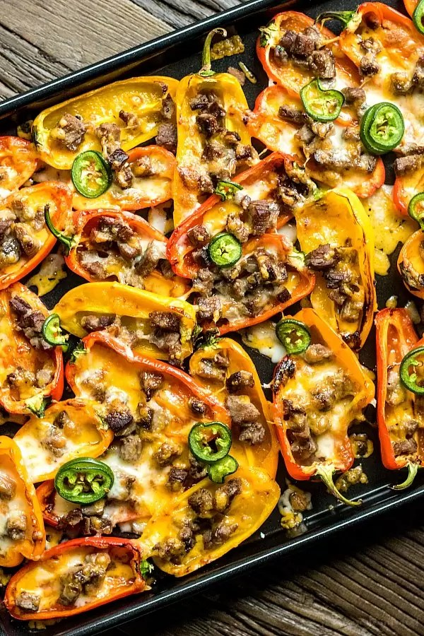 Low Carb Nachos made with sweet peppers