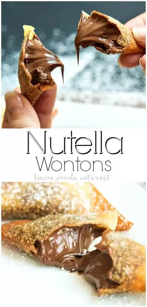 Nutella Wontons | This easy Nutella dessert recipe is a crispy fried wonton packed full of creamy, smooth Nutella. These Nutella Wontons are absolutely delicious and they make an amazing Valentine's Day dessert recipe.