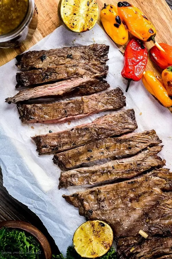 grilled skirt steak and sweet peppers