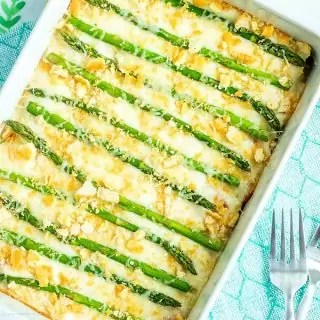 Asparagus Casserole in white platter