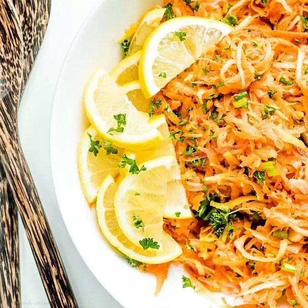sliced lemons and carrot salad