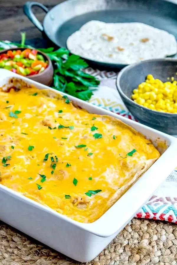 pan of chicken tortilla casserole