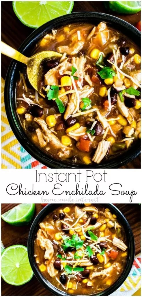 Pressure Cooker Chicken Enchilada Soup is a hearty Instant Pot soup recipe that has all the flavors of chicken enchiladas cooked into a spicy enchilada broth with chicken, corn, and black beans.