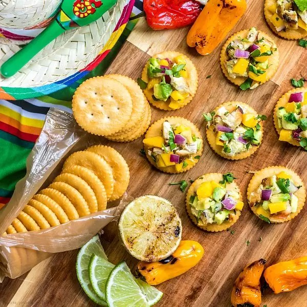 Mango Chicken Salad with grilled on a RITZ cracker