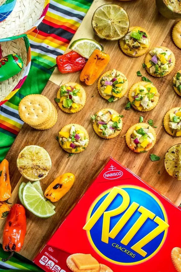 RITZ crackers topped with Mango Chicken Salsa on a Cinco de Mayo party table