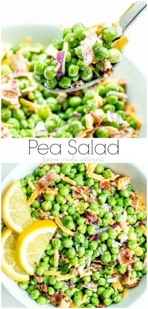 Creamy Bacon Pea Salad is an easy spring or summer salad recipe filled with fresh English peas tossed with bacon, crunchy red onions, and shredded cheddar cheese tossed in a creamy dressing and served cold.An old fashioned southern recipe that makes a great addition to your Easter brunch or Easter dinner menu. #easter #easterbrunch #easterdinner #salad #peas #summersalad #bacon #homemadeinterest