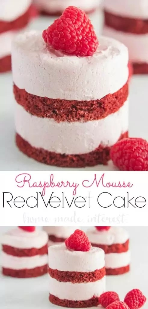 Raspberry Mousse Red Velvet Cake is an easy Valentine's Day dessert recipe made from layers of light, fluffy raspberry mousse sandwiched between thin layers of red velvet cake.It's a delicious raspberry mousse cake topped with fresh raspberries for a light dessert. These easy mini red velvet cakes make a great Valentine's Day dessert recipe but they are delicious all year long!