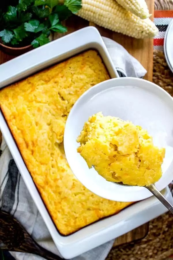 scoop of creamed corn casserole