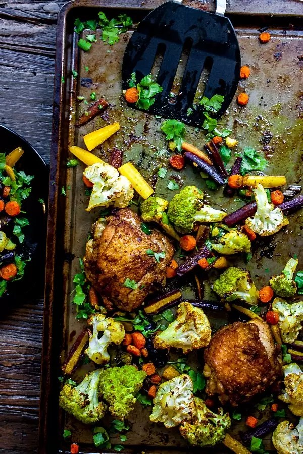 sheet pan with chicken curry and vegetable curry
