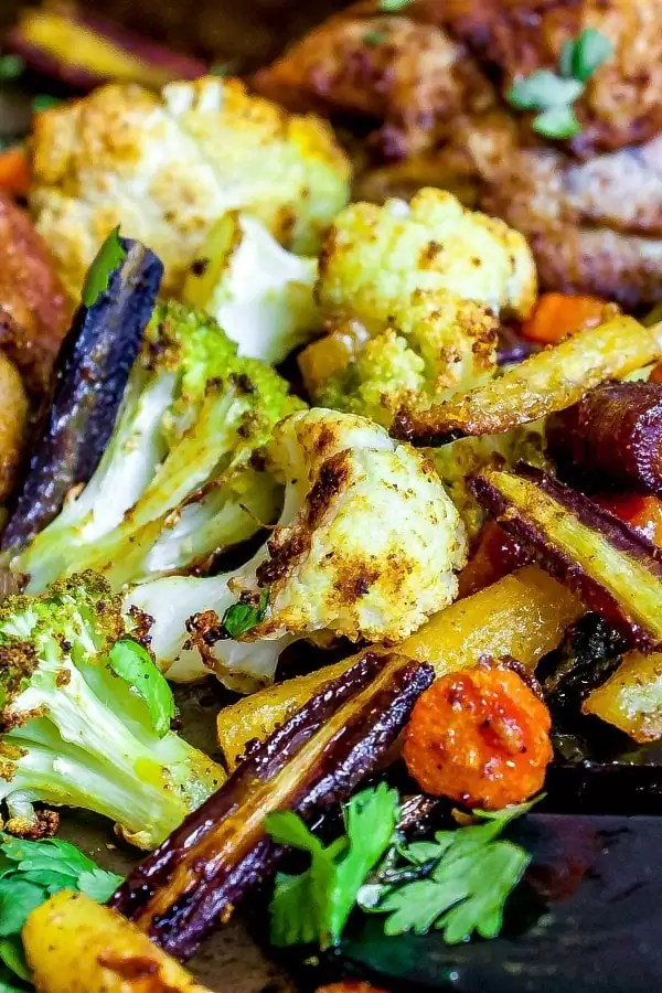 curried vegetables on a baking sheet