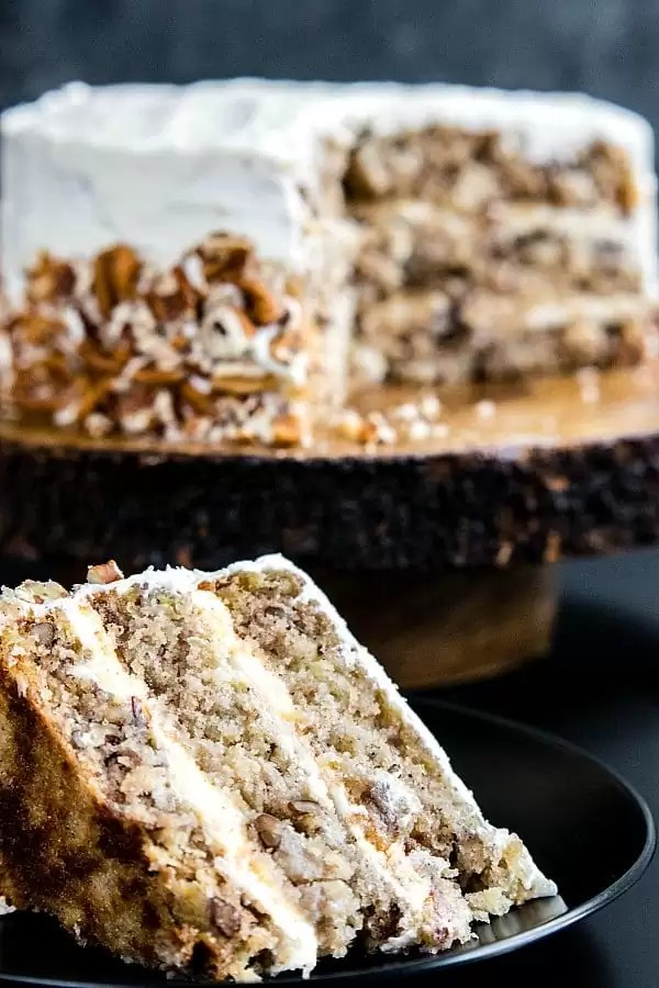 Hummingbird Cake slice showing layers