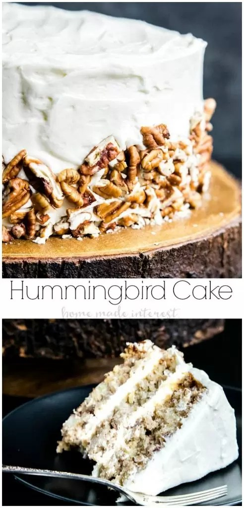 Hummingbird Cake | This classic southern Hummingbird Cake recipe has everything you need for the perfect cake. Bananas, pineapples, pecans and an amazing cream cheese frosting to bring it all together. Hummingbird cake makes an excellent Easter dessert recipe but don't stop there. Make Hummingbird Cake for all of your special occasions! It's an easy cake recipe that everyone will love. #cake #easterdessert #easter #creamcheesefrosting #pecans #bananas