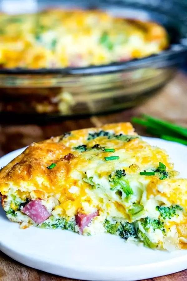 crustless ham, cheese and broccoli quiche