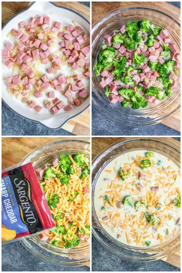 steps to make low carb ham and cheese crustless quiche