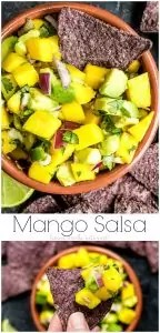 Mango Salsa is an easy salsa recipe with fresh mango, avocado, onion, cilantro and lime. It is a perfect balance between sweet and savory. Make this mango salsa as a simple side or a topping on your favorite taco recipe. If you're looking for a healthy fruit salsa recipe you have to try this Mango salsa recipe. AD #mango #salsa #appetizer #healthyrecipes