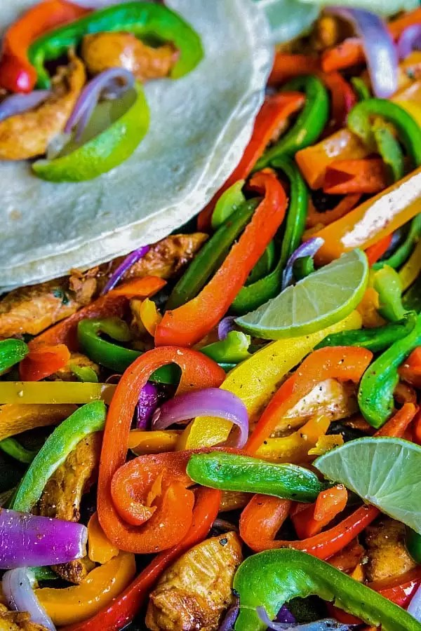 chicken fajitas on a sheet pan