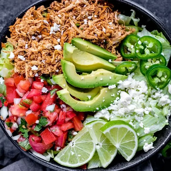 low carb shredded chicken taco bowl