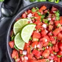 fresh pico de gallo with lime slices on top