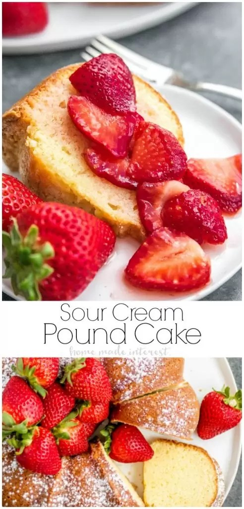This sweet, buttery Sour Cream Pound Cake is and easy cake recipe made with simple ingredients. Serve it with fresh fruit as a simple summer dessert.This beautiful pound cake recipe is an easy dessert that can be served with fresh fruit or plain. #summerdessert #poundcake #cake #dessert