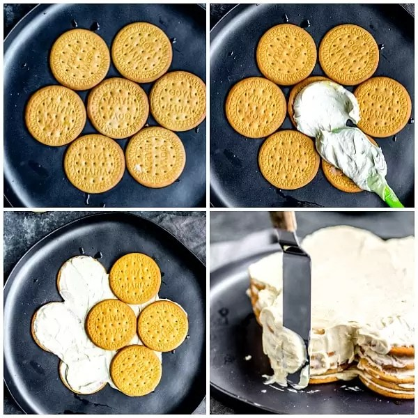 step-by-step photos of how to make bolo de bolacha biscuit cake