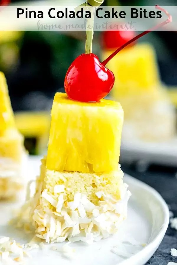 These delicious Pina Colada Cake Bites are skewers of pound cake, pineapple, pina colada icing, and toasted coconut. They are the perfect bite-size dessert for summer parties! If you're looking for an easy summer dessert for a crowd you have to make these Pina Colada Cake Bites. They are the BEST summer dessert for a party!