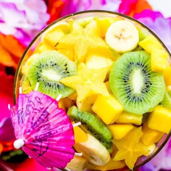 Pina Colada Tropical Fruit Salad with star fruit, mango, banana, pineapple, and kiwi