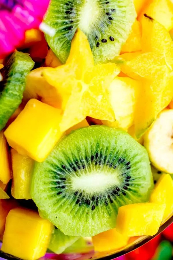 Close-up of fruits in a pina colada tropical fruit salad