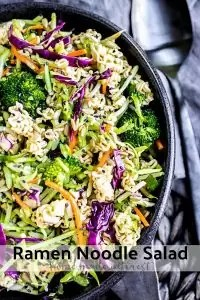 Crunchy Ramen Noodle Salad is an easy recipe for summer parties and potlucks. This simple cold side dish is an Asian inspired recipe made with crunchy ramen noodles, cabbage, broccoli, and topped with sunflower seeds, and sesame seeds. Ramen Noodle Salad is tossed in a delicious dressing that brings all the flavors together.