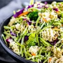 cold Ramen Noodle Salad made with broccoli slaw