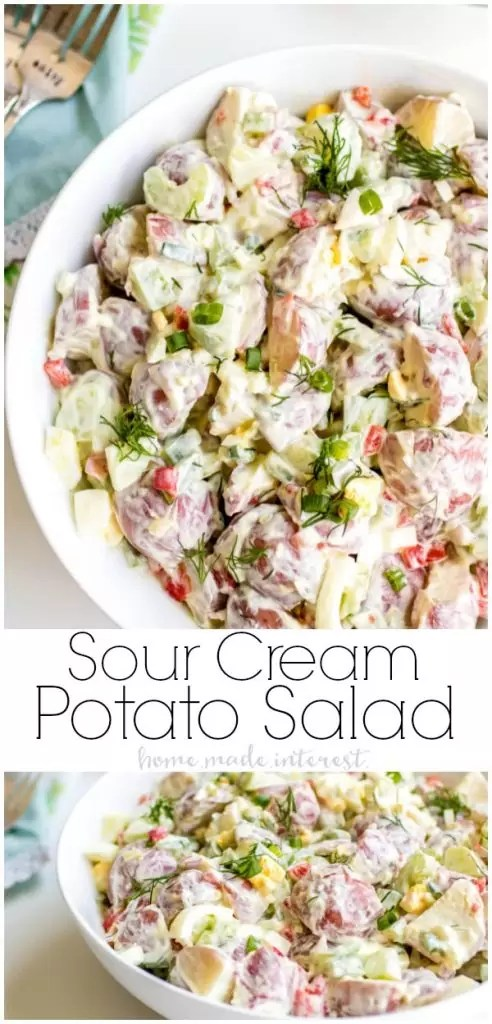 Creamy, crunchy,Sour Cream Potato Salad will add a little flavor to all of your summer potlucks! This easy red potato salad is the perfect side dish for picnics and BBQs. It also makes an amazing Easter side dish! Add this easy potato salad to your Easter dinner menu to serve with ham! #easter #potatosalad #easterdinner #easterbrunch #potluck #summerbbq