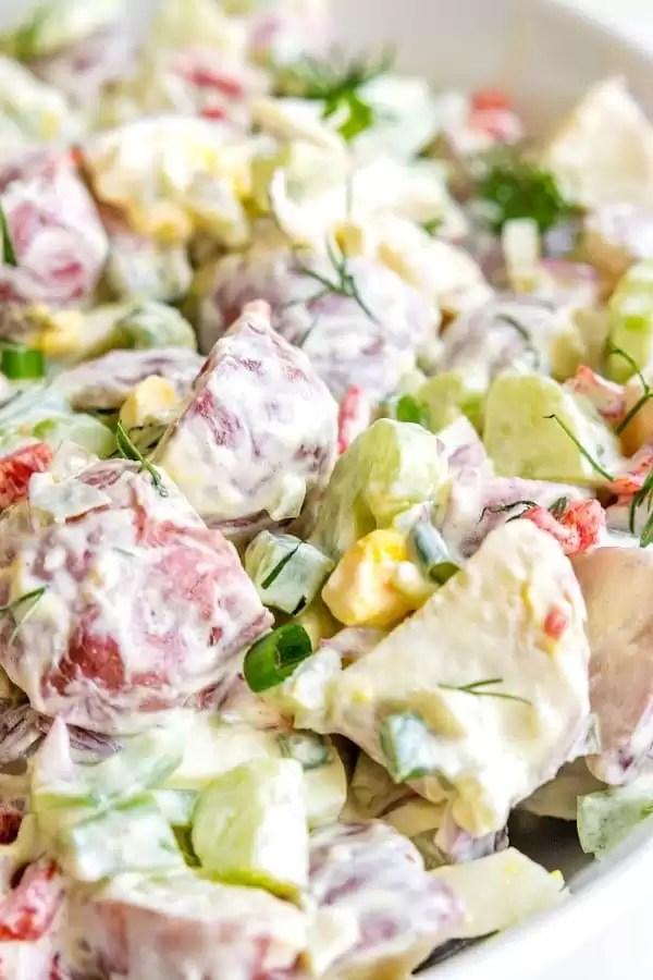 sour cream potato salad in a bowl